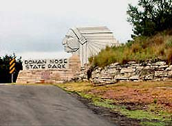 Roman Nose State Park is located north of Watonga, Oklahoma