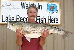 Illinois River Oklahoma record striped bass caught by Paul Hollister.
